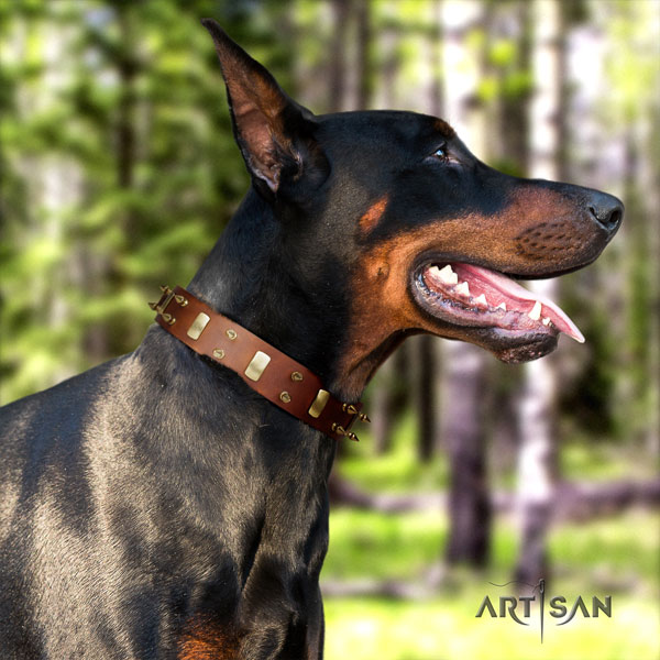 Doberman easy adjustable natural genuine leather collar with studs for your canine