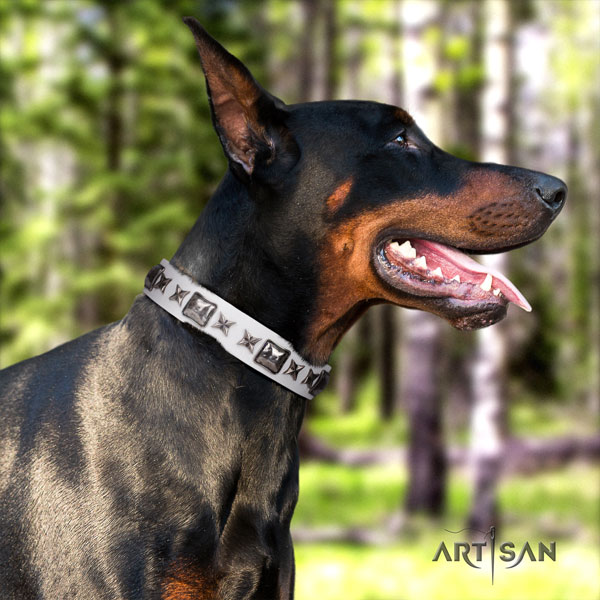 Doberman designer full grain leather collar with decorations for your four-legged friend
