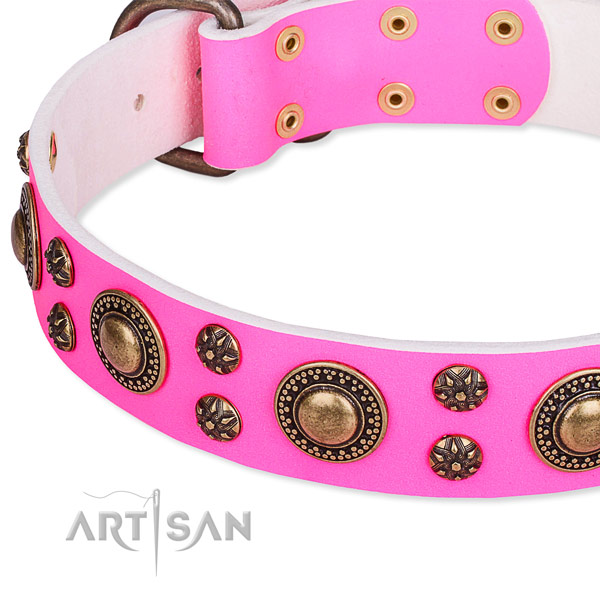 Natural genuine leather dog collar with amazing adornments