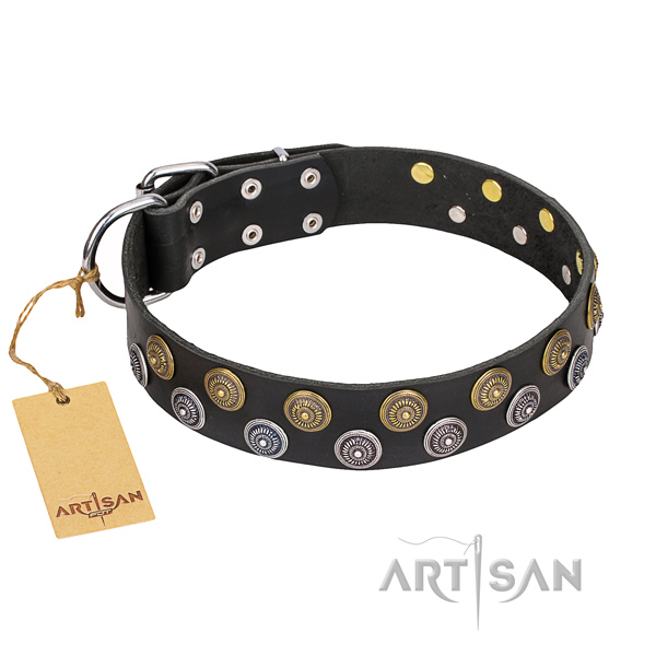 Remarkable genuine leather dog collar for handy use