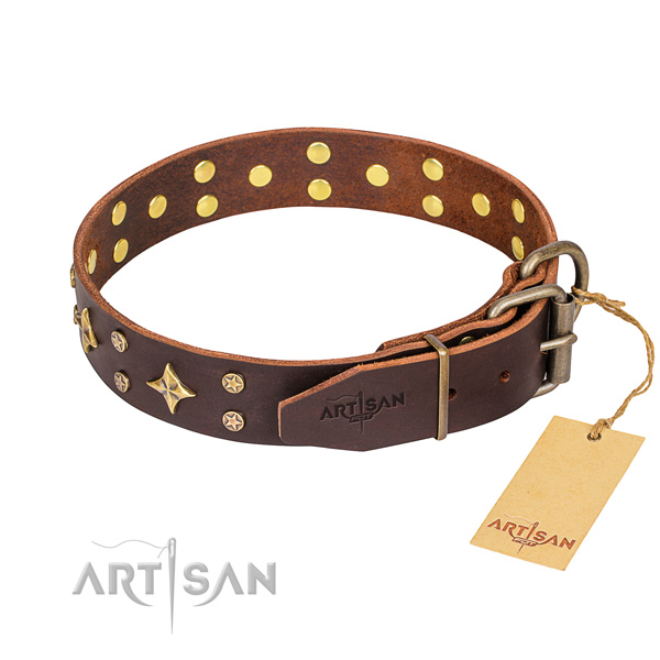 Daily walking full grain genuine leather collar with studs for your doggie