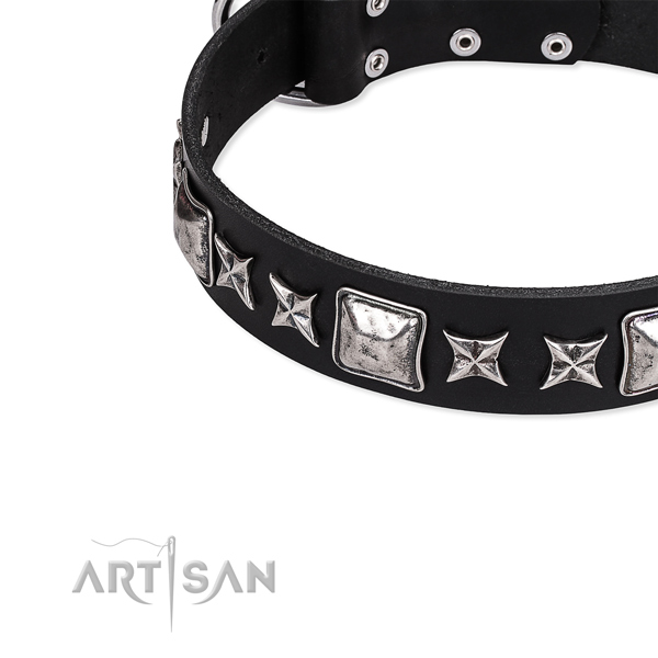 Leather dog collar with adornments for comfortable wearing