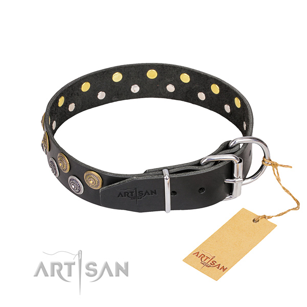 Daily use full grain genuine leather collar with adornments for your pet