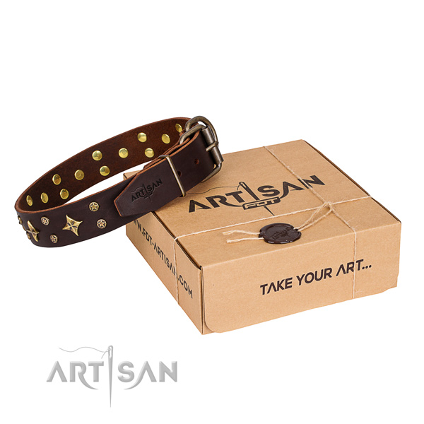 Embellished full grain genuine leather dog collar for comfortable wearing