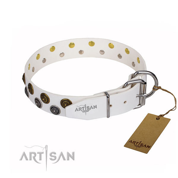 Everyday use genuine leather collar with decorations for your pet