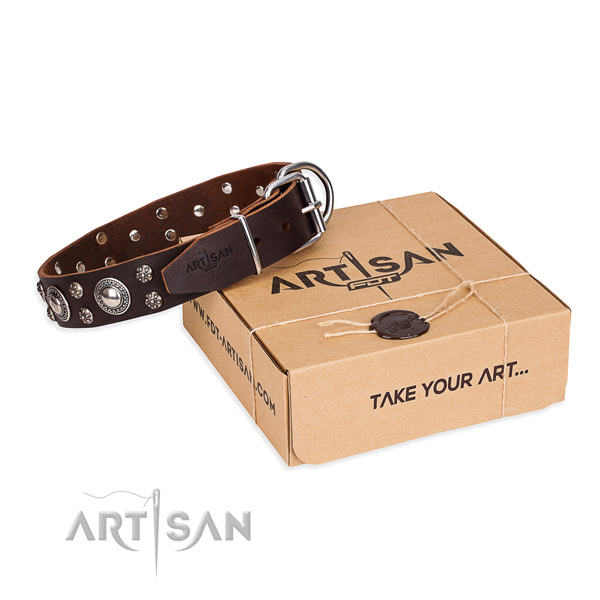 Everyday leather dog collar with luxurious decorations