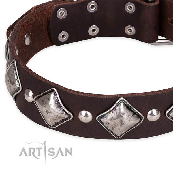 Easy to put on/off leather dog collar with resistant non-rusting fittings