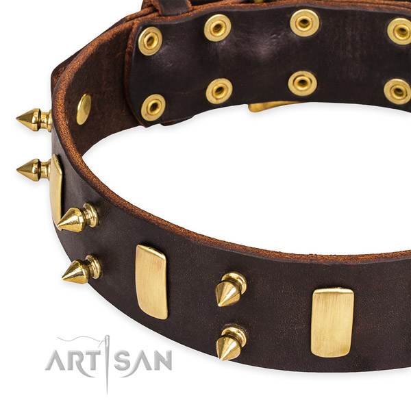 Easy to use leather dog collar with extra strong durable set of hardware