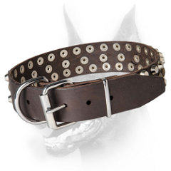 Safe leather Doberman Collar with Rust-proof fittings