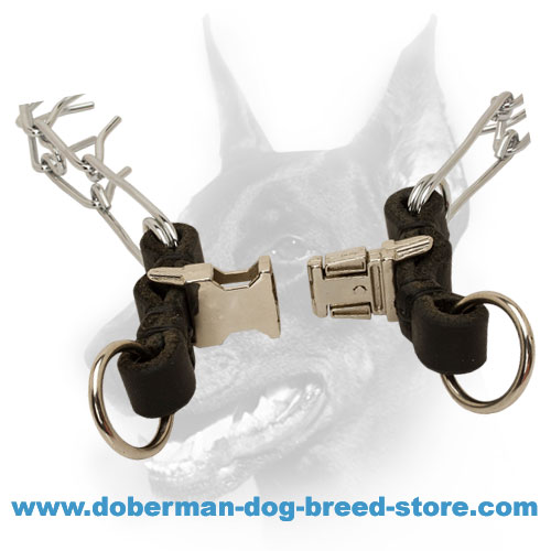 Doberman dog collar with quick-release buckle