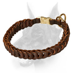 Doberman collar flexible because of the braided leather  strap