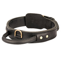 2 ply leather agitation Doberman collar with handle