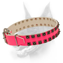 Leather dog collar pink with solid hardware