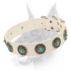 White leather dog collar with trendy adornment