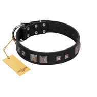 """Foregone Riches"" FDT Artisan Black Leather Doberman Collar with Old Silver-like Square Studs and Pyramids"