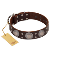 """Imperial Legate"" FDT Artisan Brown Leather Doberman Collar with Big Round Plates"