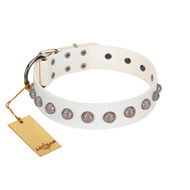 """Grandeur Dog"" FDT Artisan White Leather Doberman Collar with Engraved Studs"