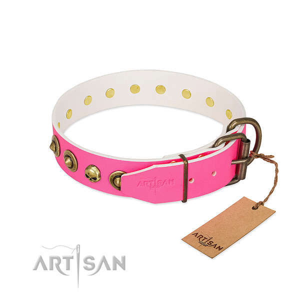 Natural leather collar with remarkable decorations for your pet