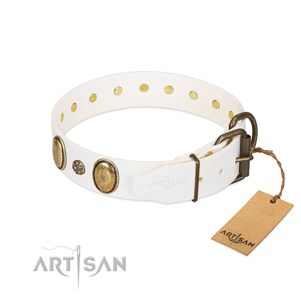 Walking gentle to touch genuine leather dog collar with decorations