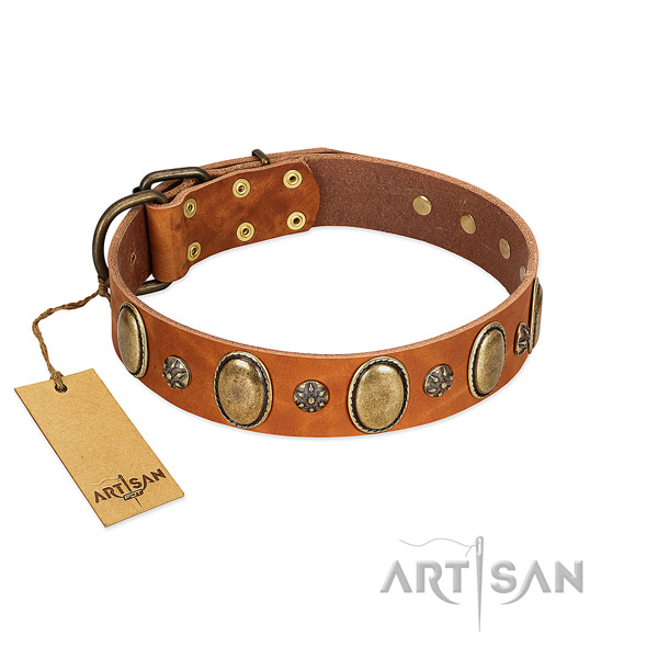 Walking soft to touch genuine leather dog collar with decorations
