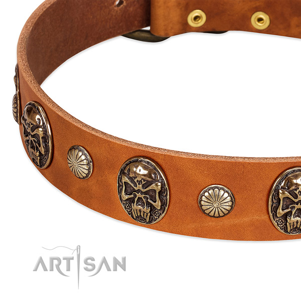 Corrosion resistant hardware on full grain leather dog collar for your canine