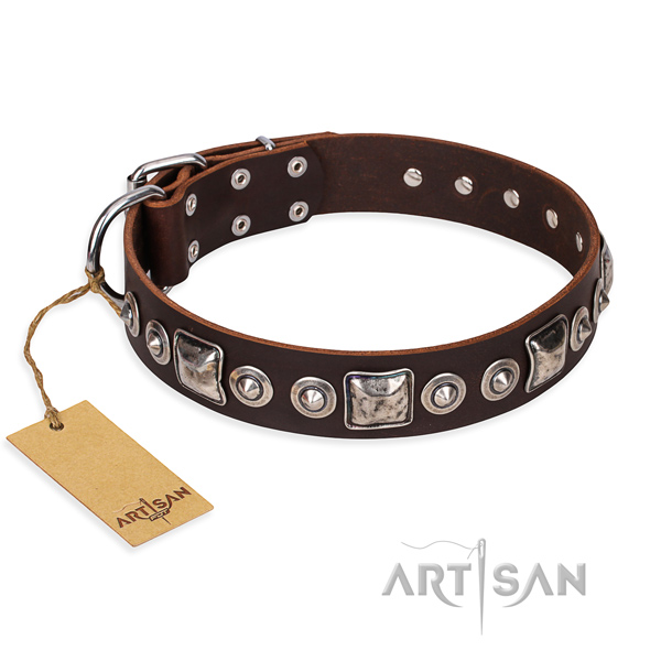 Full grain natural leather dog collar made of gentle to touch material with rust-proof buckle