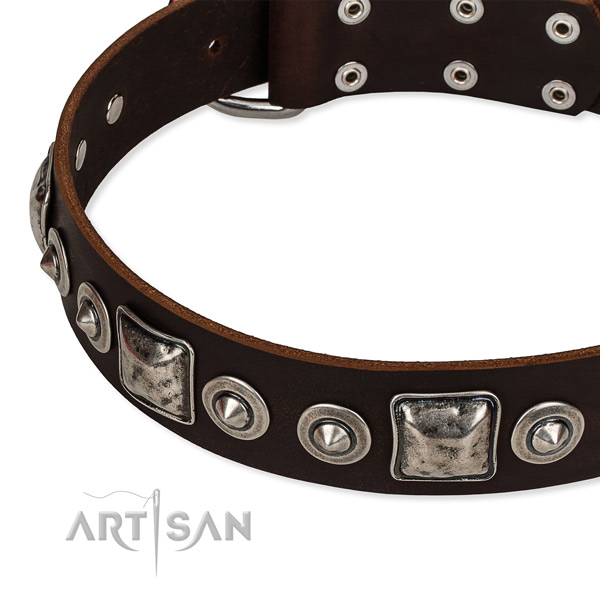 Genuine leather dog collar made of best quality material with decorations
