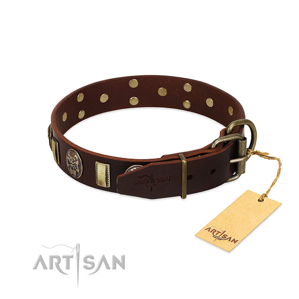Leather dog collar with durable traditional buckle and embellishments