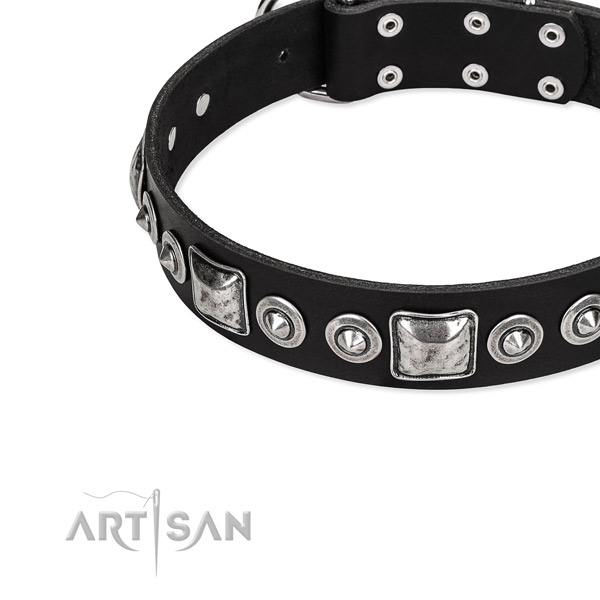 Full grain genuine leather dog collar made of high quality material with studs