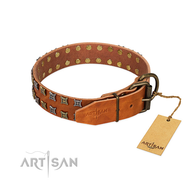 Strong natural leather dog collar crafted for your doggie