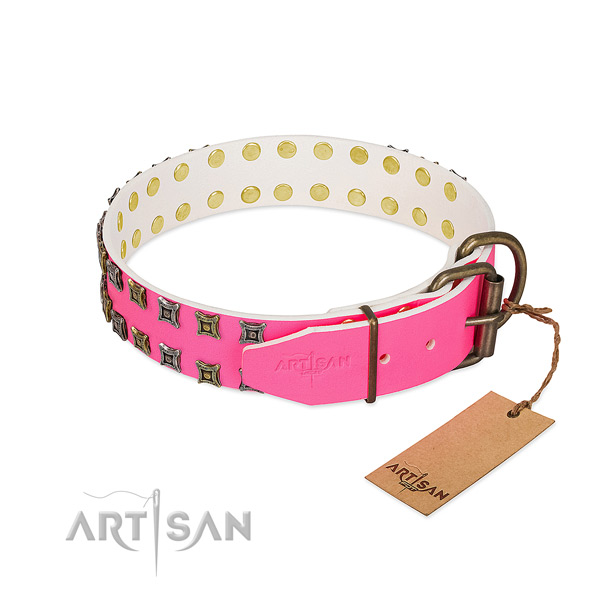 Full grain genuine leather collar with unusual embellishments for your doggie