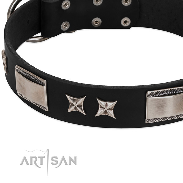 Soft natural leather dog collar with corrosion proof traditional buckle