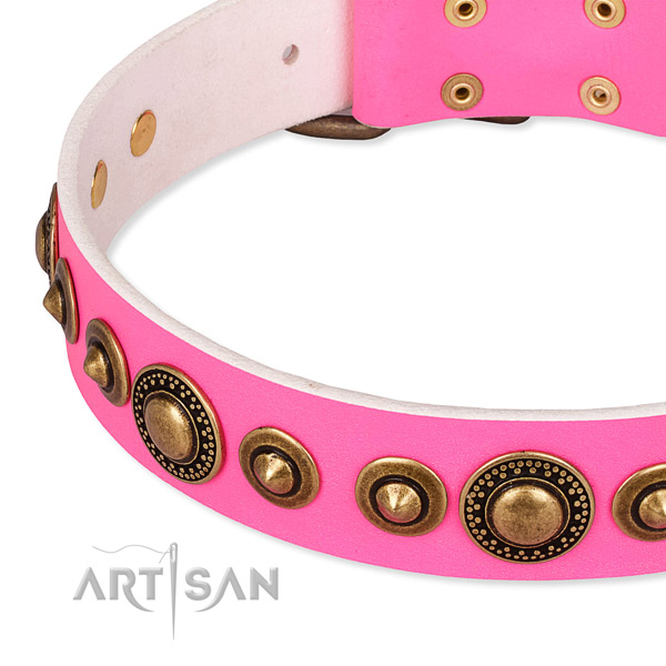 Flexible natural genuine leather dog collar handcrafted for your lovely dog