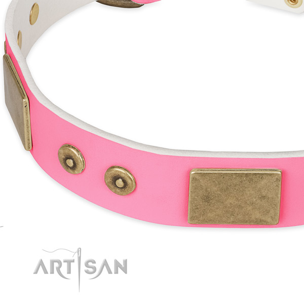 Full grain genuine leather dog collar with adornments for handy use