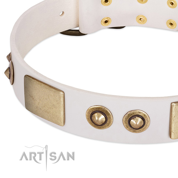 Rust-proof D-ring on full grain leather dog collar for your canine