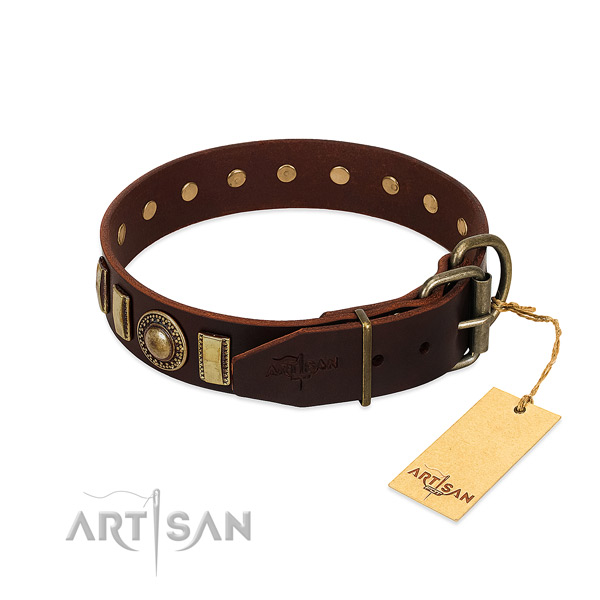 Perfect fit natural leather dog collar with rust-proof fittings