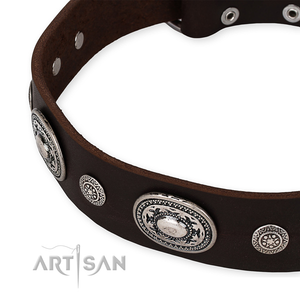 Flexible genuine leather dog collar handcrafted for your beautiful pet