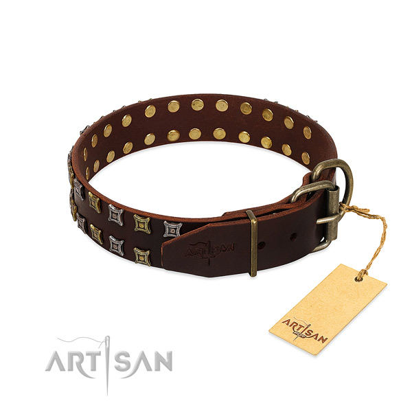 High quality natural leather dog collar handmade for your dog