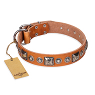 """Era of Future"" FDT Artisan Handcrafted Tan Leather Doberman Collar with Decorations"