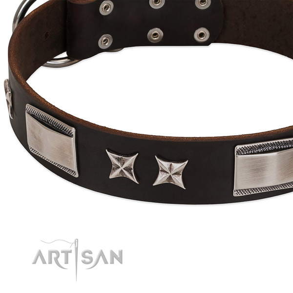 Flexible leather dog collar with rust-proof D-ring