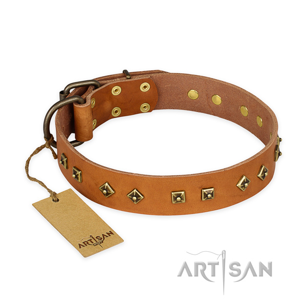 Top notch genuine leather dog collar with rust resistant buckle