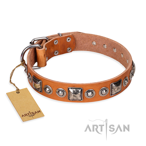 Natural genuine leather dog collar made of high quality material with durable traditional buckle