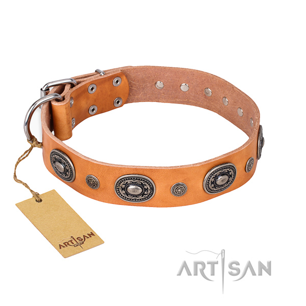 Top notch natural genuine leather collar made for your dog