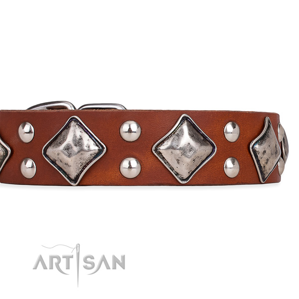Natural leather dog collar with exquisite corrosion proof decorations