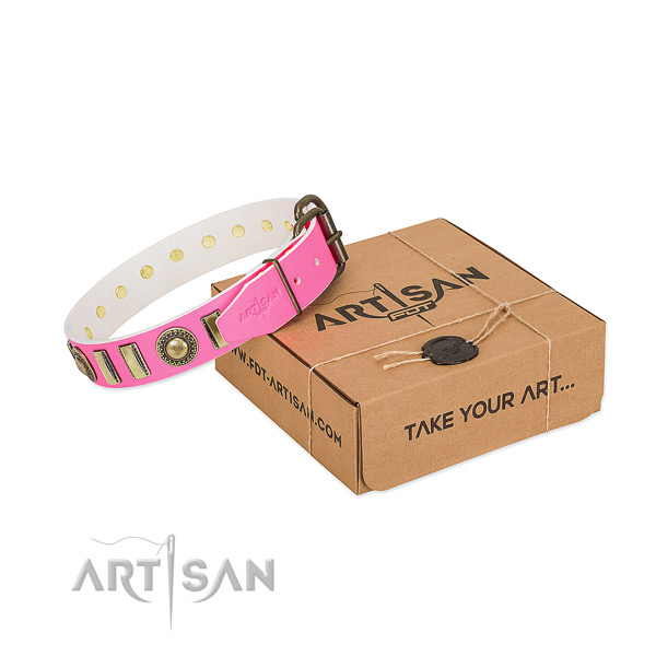 Top rate full grain natural leather dog collar made for your pet