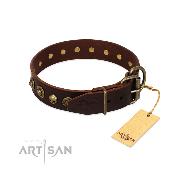 Leather collar with significant studs for your canine