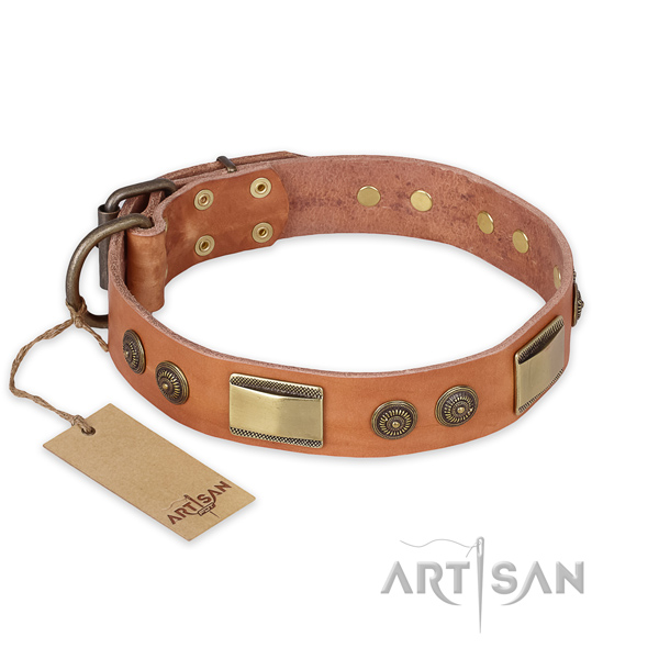 Top quality full grain genuine leather dog collar for comfy wearing