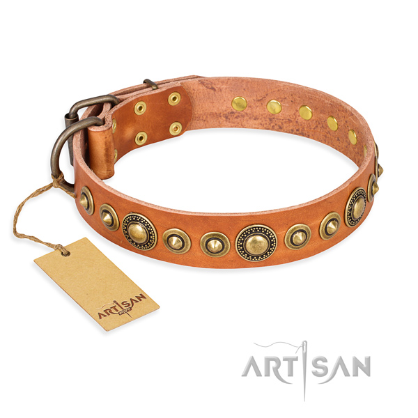 High quality natural genuine leather collar handcrafted for your pet