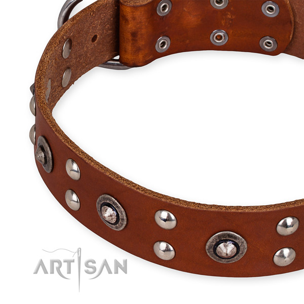 Full grain natural leather collar with reliable buckle for your handsome pet