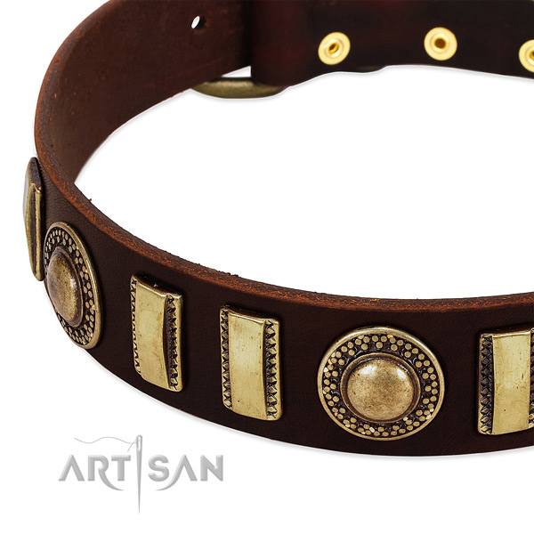 Soft to touch full grain genuine leather dog collar with rust resistant buckle